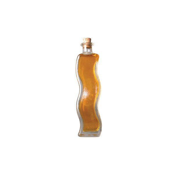 Dekorativ klar flaske, kurvet, 200 ml. inkl. prop
