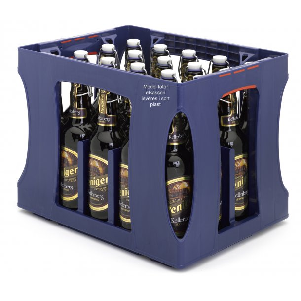 Ølkasse i sort plast, inkl. 20 stk. ølflasker til patentprop og 20 stk patentpropper