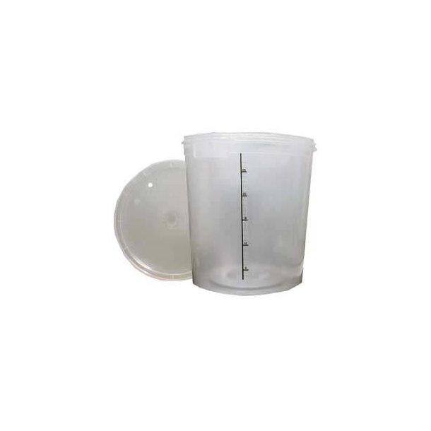 Gærspand, 30 l. i klar plast, inkl. låg og tylle